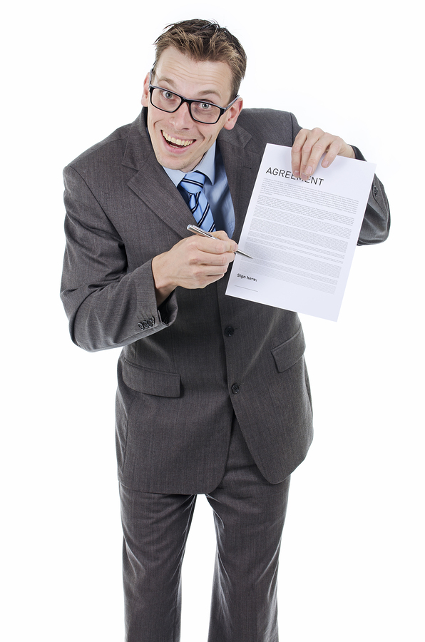 Salesmen sign contract here